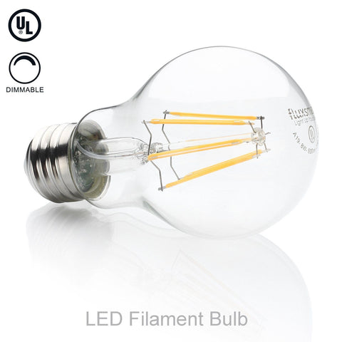 FluxSmart LED Filament Edison Light Bulb - Dimmable Warm White 8W - 60W Equivalent A19 E26/27 Base 2700K