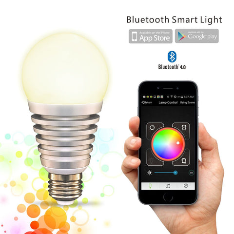 FluxSmart SuperLight Bluetooth LED Light Bulb - Smartphone Controlled Dimmable Color Changing Lights