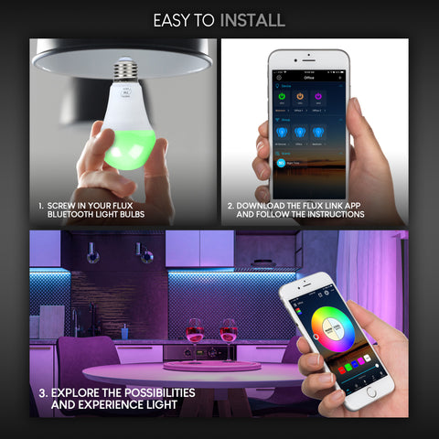 FluxSmart Bluetooth Smart LED Light Bulb - Multicolor Dimmable Wireless Lighting