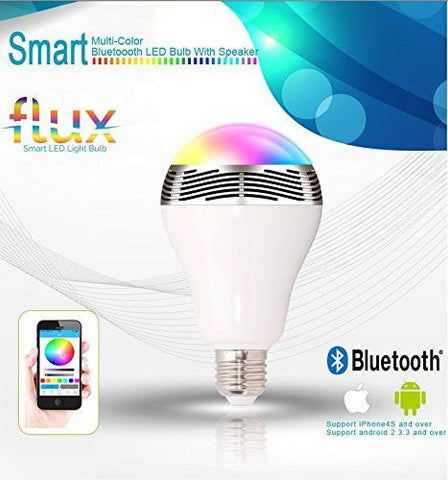 FluxSmart Melody - Bluetooth Color Changing LED Light Bulb With Speaker - Smartphone Controlled Dimmable Smart LED Lights