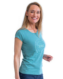 Casual T-Shirt Women Vintage Teal