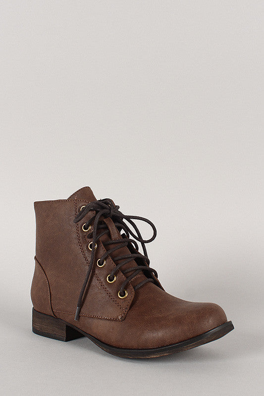 Zipper Military Lace Up Booties - BLK+BLU