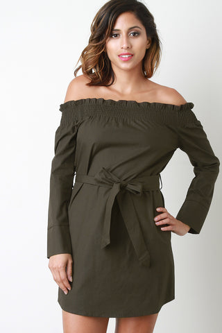 Long Sleeves Off-The-Shoulder Mini Dress - BLK+BLU