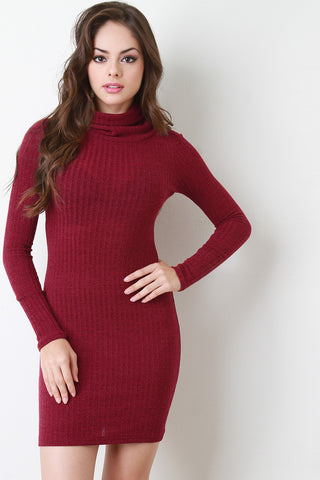 Rib Knit Turtle Neck Bodycon Dress - BLK+BLU