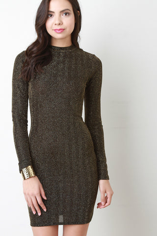 Metallic Knit Mock Neck Bodycon Dress - BLK+BLU