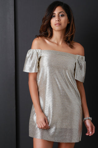 Liquid Metal Off The Shoulder Shift Dress - BLK+BLU