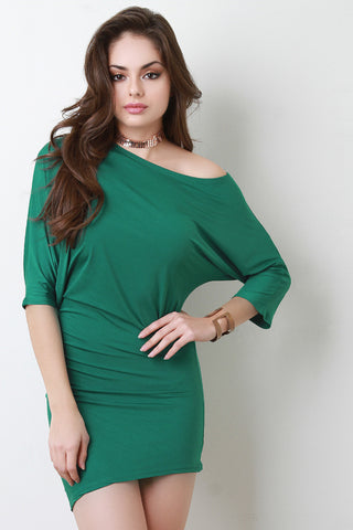 Off One Shoulder Dolman Sleeve Bodycon Dress - BLK+BLU