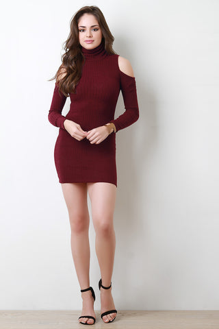 Ribbed Knit Turtle Neck Cold Shoulder Mini Dress - BLK+BLU