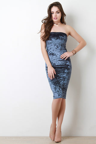 Crush Velvet Tube Midi Bodycon Dress - BLK+BLU