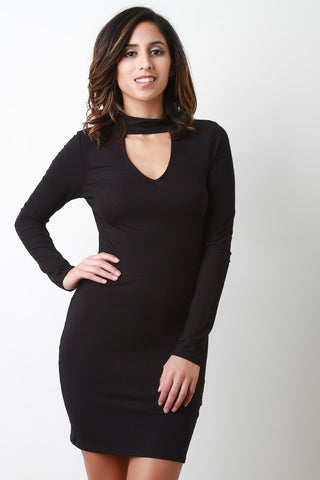 Rib Knit Long Sleeve Mini Dress - BLK+BLU