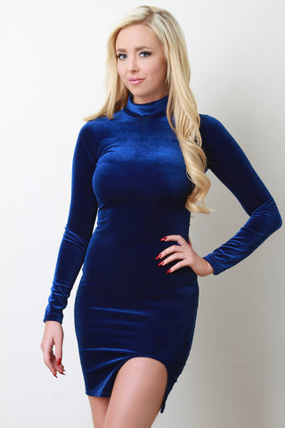 Long Sleeves Vent Slit Velvet Dress - BLK+BLU