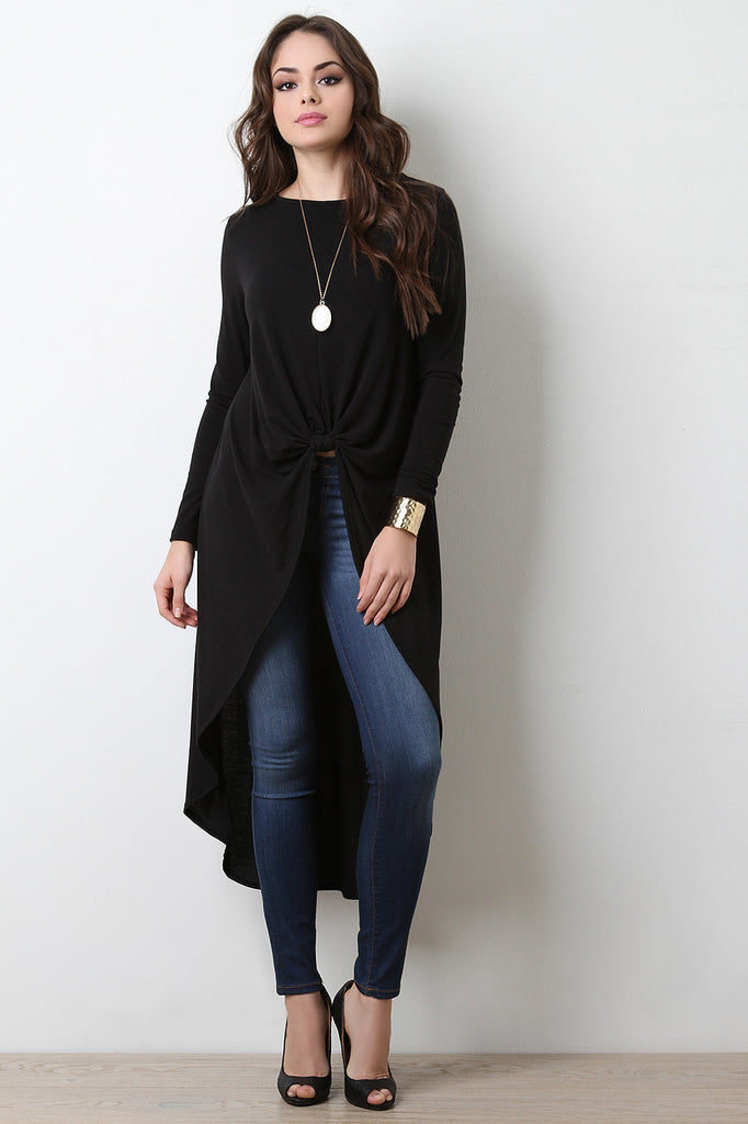 Knotted High Low Maxi Top - BLK+BLU