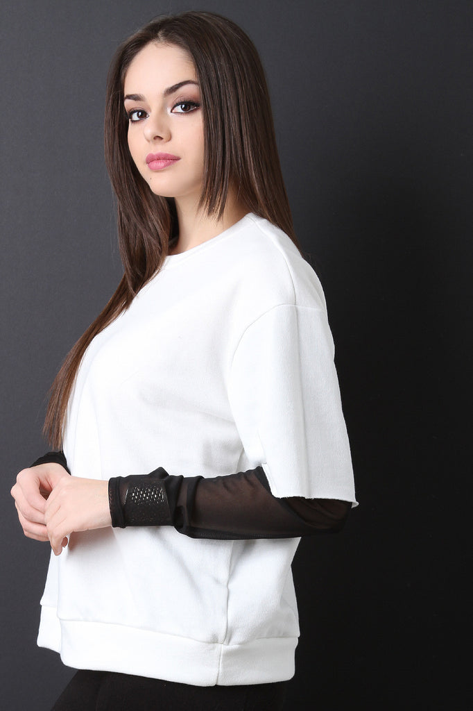 Boxy Terry Knit Semi-Sheer Sleeve Top - BLK+BLU
