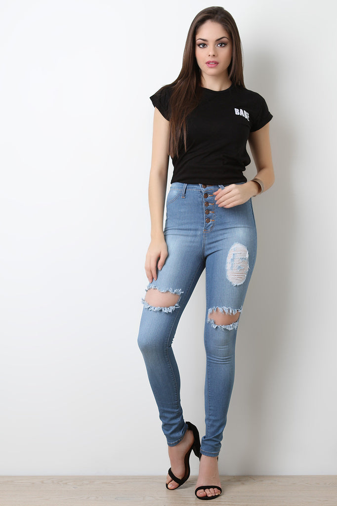 Five Buttons High Waisted Distress Denim Jeans - BLK+BLU
