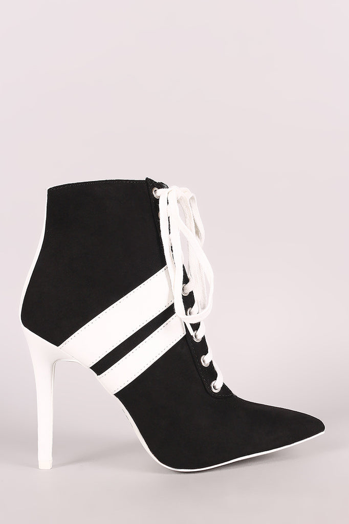 Qupid Sporty Lace Up Pointy Toe Booties - BLK+BLU