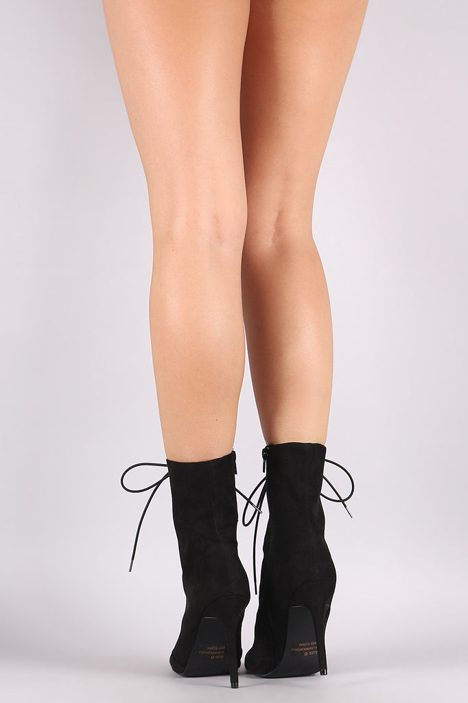 Qupid Vegan Suede Lace Up Pointy Toe Booties - BLK+BLU