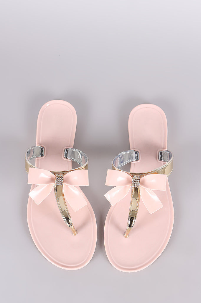 Rhinestone Accent Bow Jelly Thong Flat Sandal - BLK+BLU