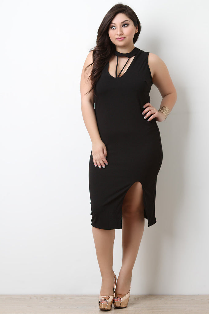 Form Fitting Strappy Caged Sleeveless Midi Dress - BLK+BLU