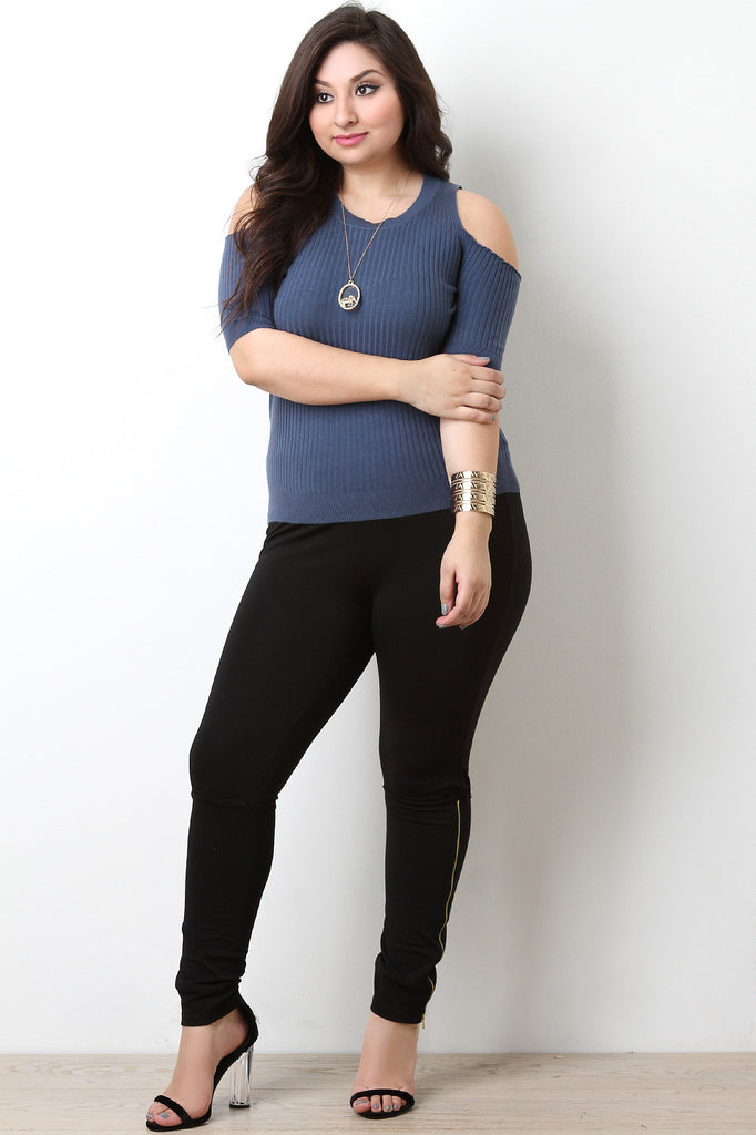 Cold Shoulder Ribbed Sweater Knit Top - BLK+BLU