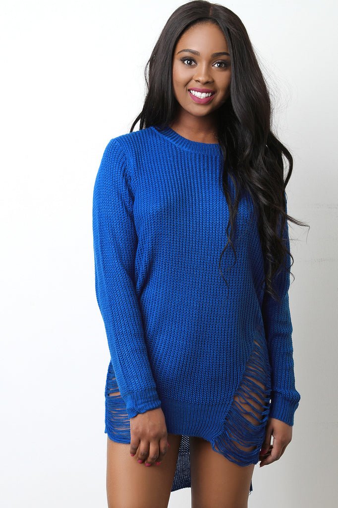 Sweater Knit Distress Sides High Low Tunic Dress - BLK+BLU
