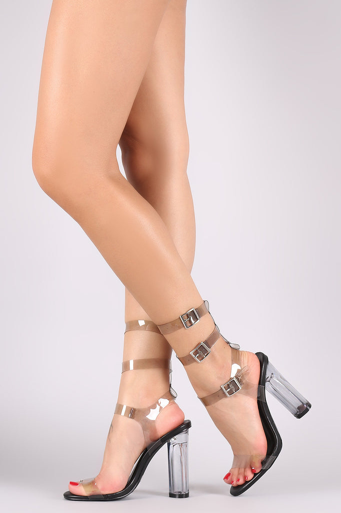 Trio Ankle Strap Open Toe Chunky Lucite Heel