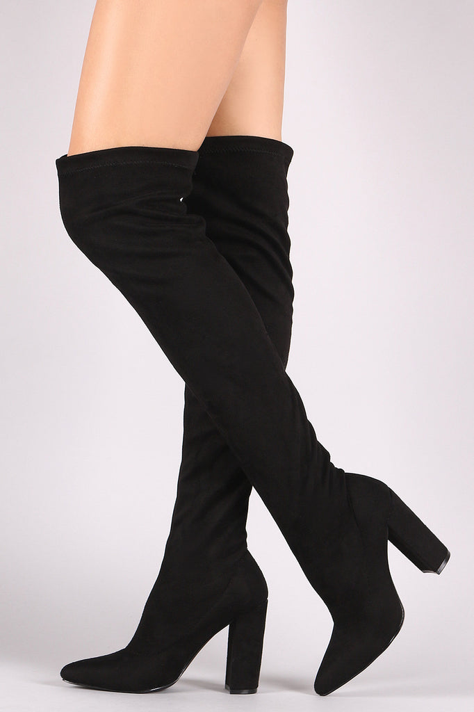 Qupid Fitted Suede Pointy Toe Chunky Heeled Over-The-Knee Boots - BLK+BLU