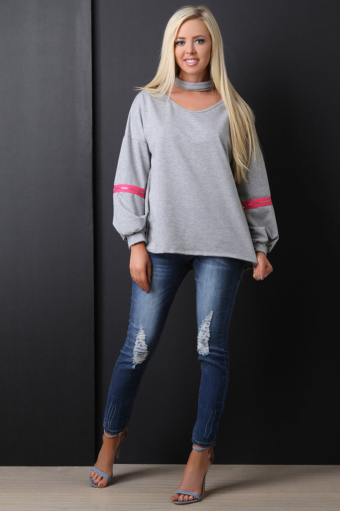 Choker Neck Zippered Sleeve Sweatshirt - BLK+BLU