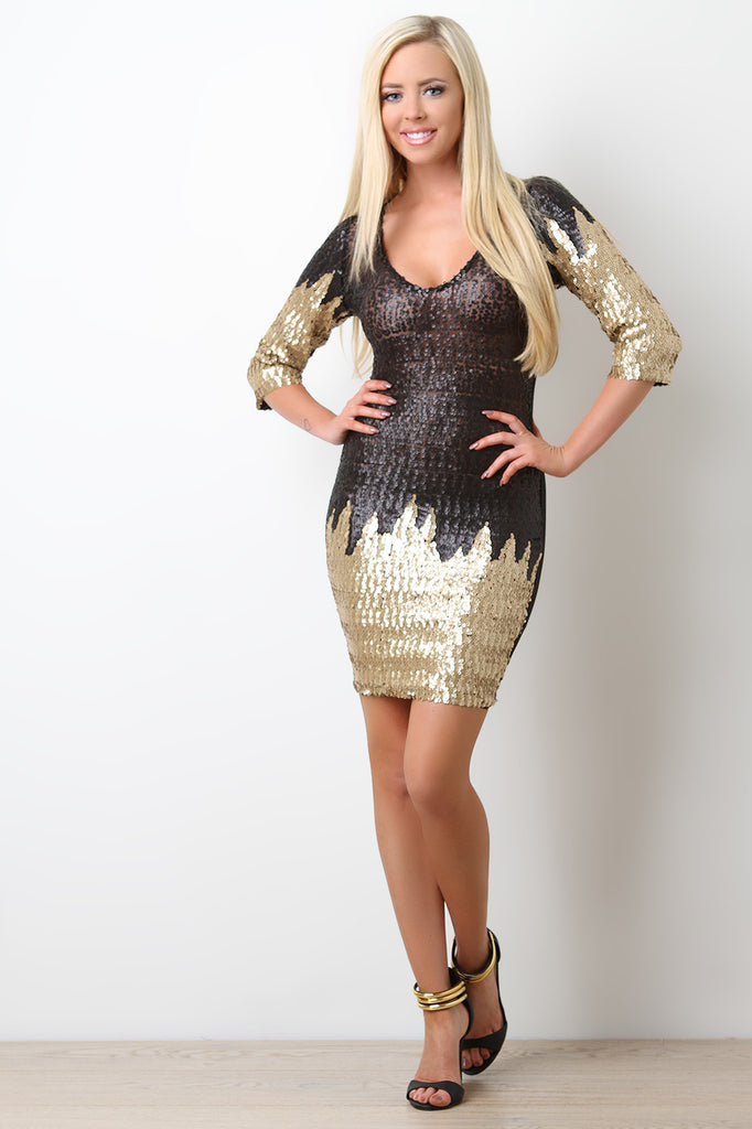 Sequin Mesh Scooped Neck Mini Dress - BLK+BLU