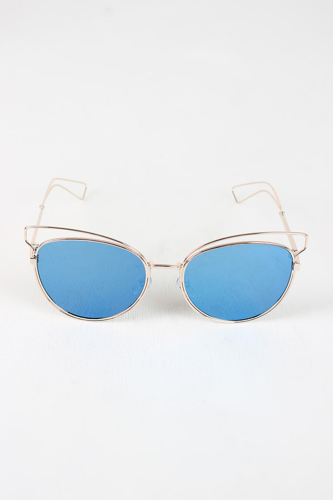 Open Wire Framed Mirror Lens Sunglasses