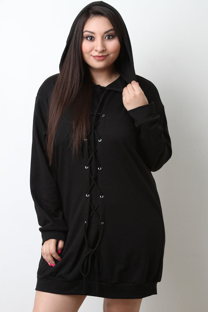 Lace-Up Hoodie Sweater Dress - BLK+BLU