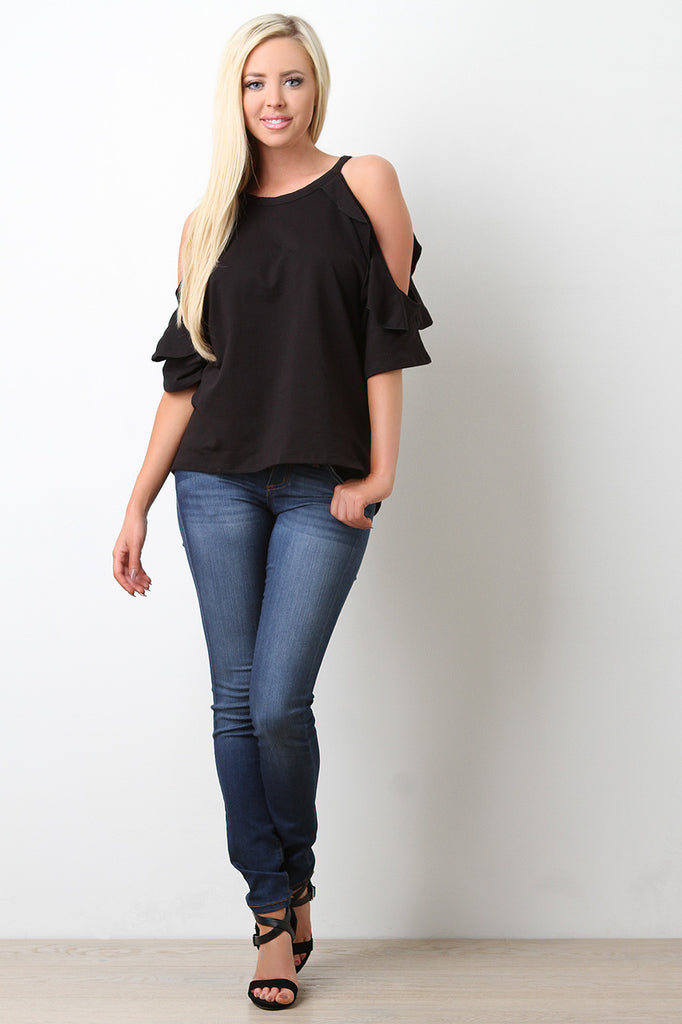 Cold Shoulder Ruffle Knit Top - BLK+BLU