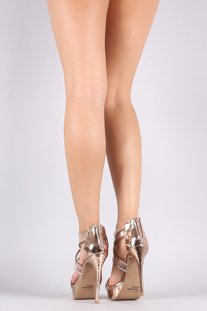 Qupid Metallic Transparent Crisscross Strap Stiletto Heel