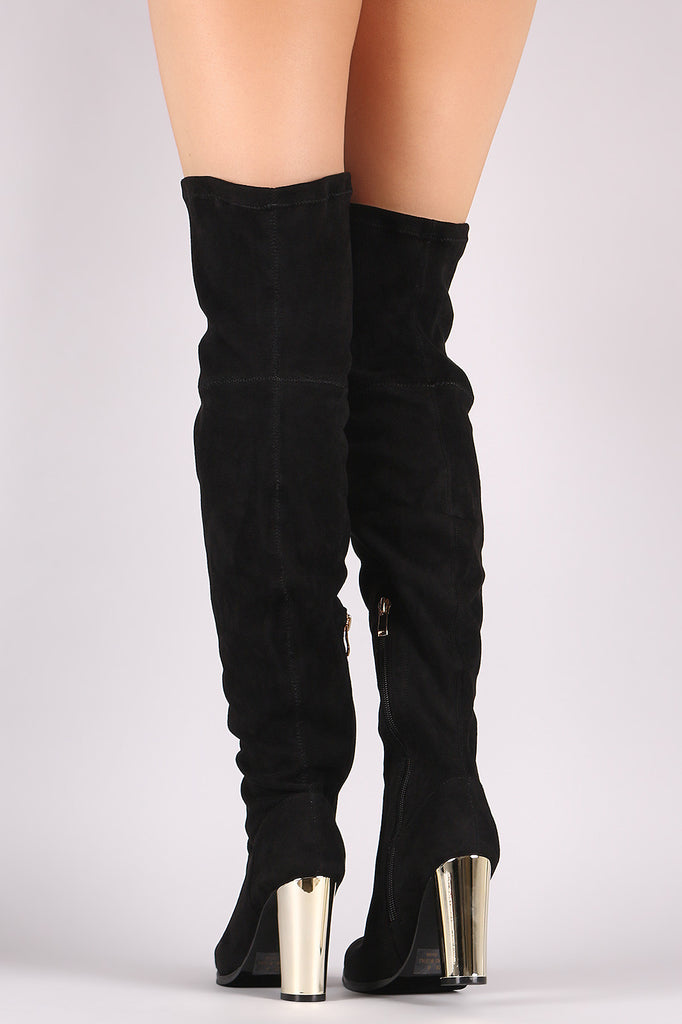 Qupid Suede Chunky Metallic Heeled Over-The-Knee Boots - BLK+BLU