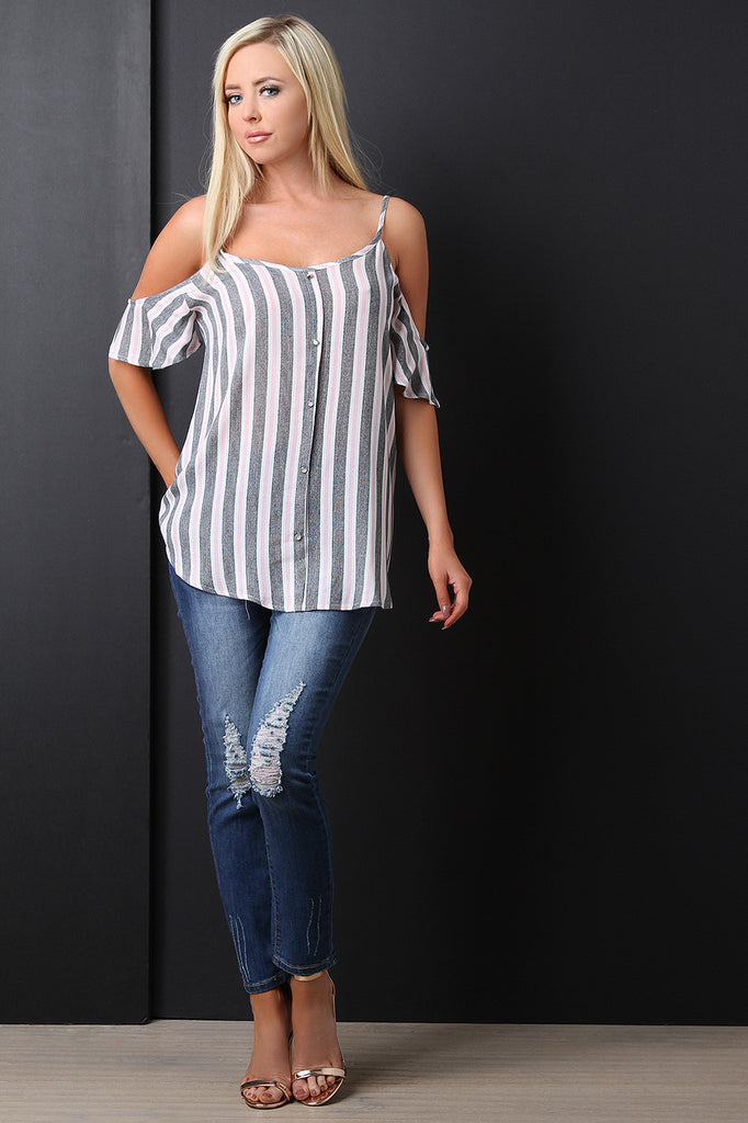 Textured Vertical Striped Cold Shoulder Top - BLK+BLU