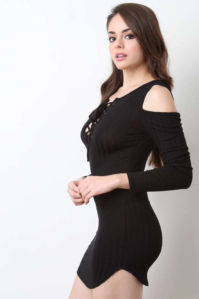 Lace Up Cold Shoulder Rib Knit Dress - BLK+BLU