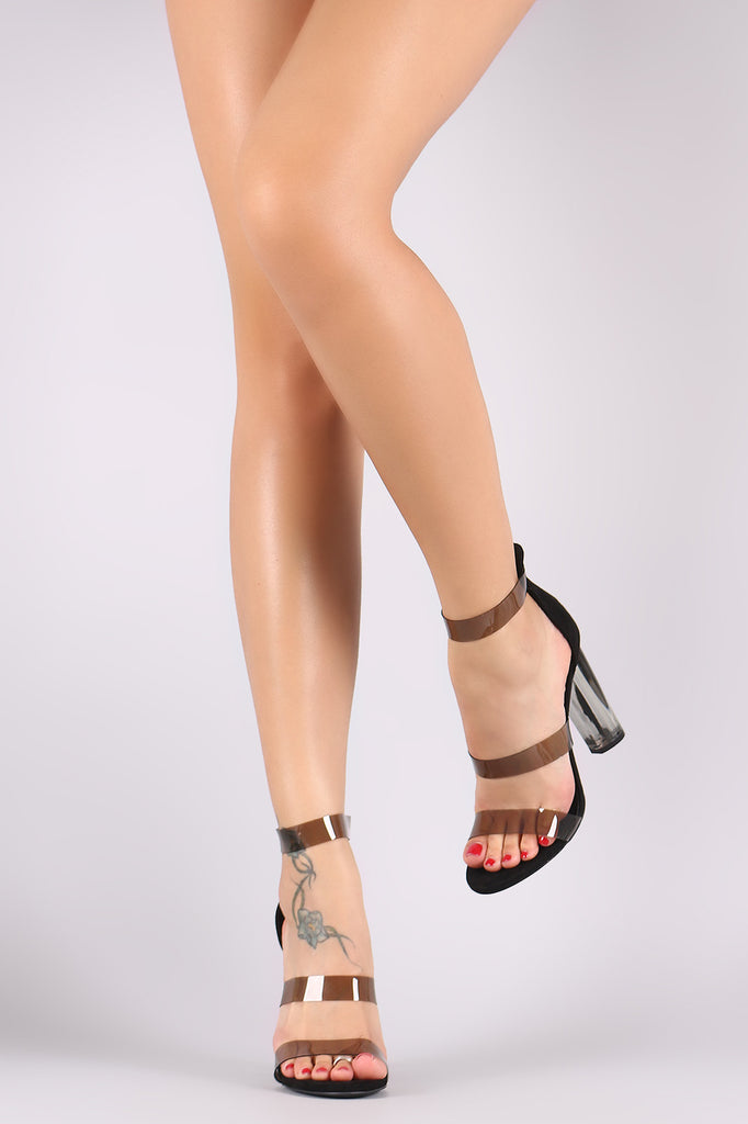 Wild Diva Lounge Suede Triple Clear Straps Chunky Lucite Heel - BLK+BLU