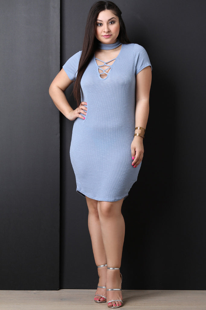 Mock Neck Lattice Yoke Ribbed Dress - BLK+BLU