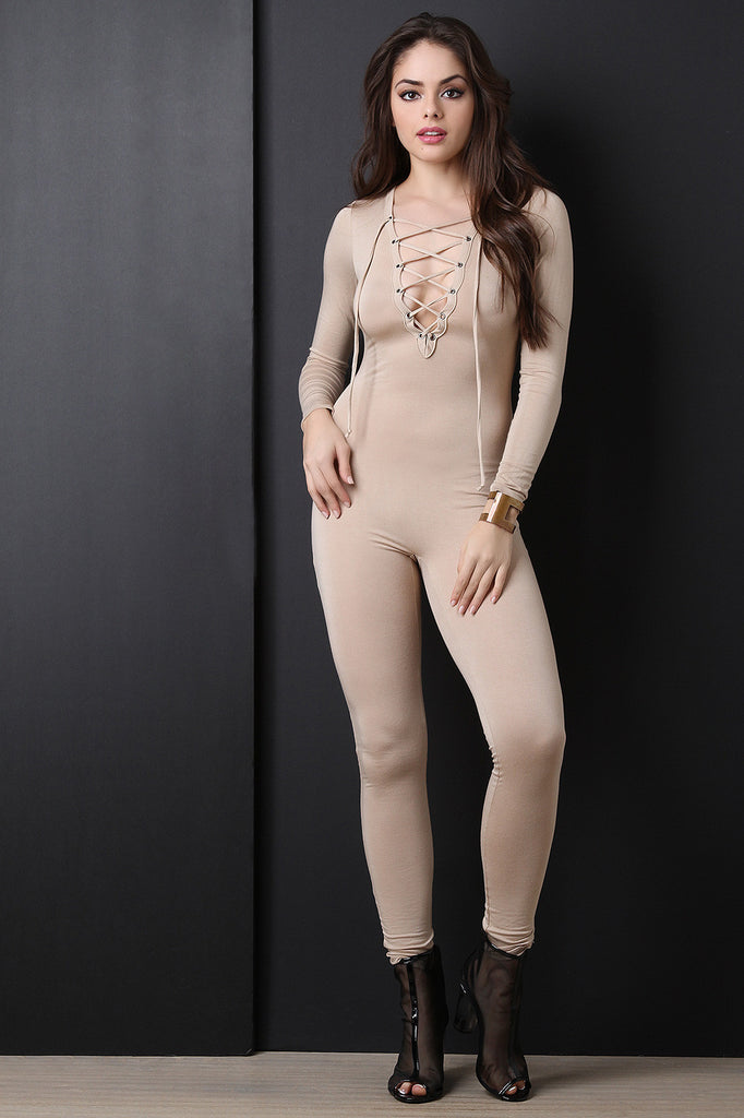 Long Sleeve Jersey Knit Lace Up Jumpsuit - BLK+BLU