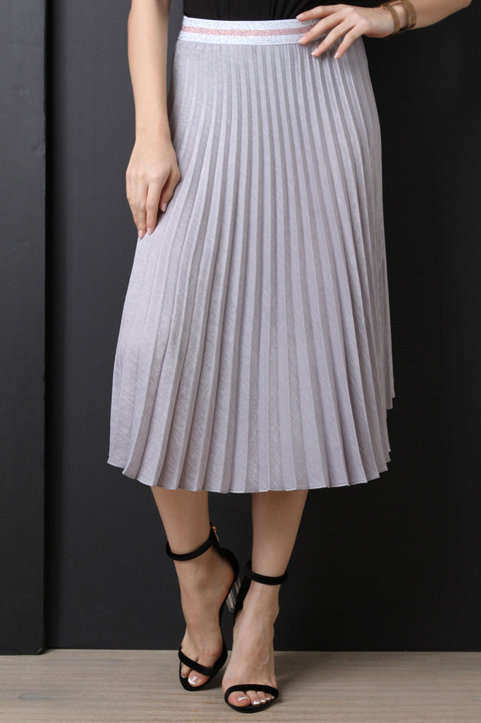 Silky High Waisted Pleated Midi Skirt - BLK+BLU
