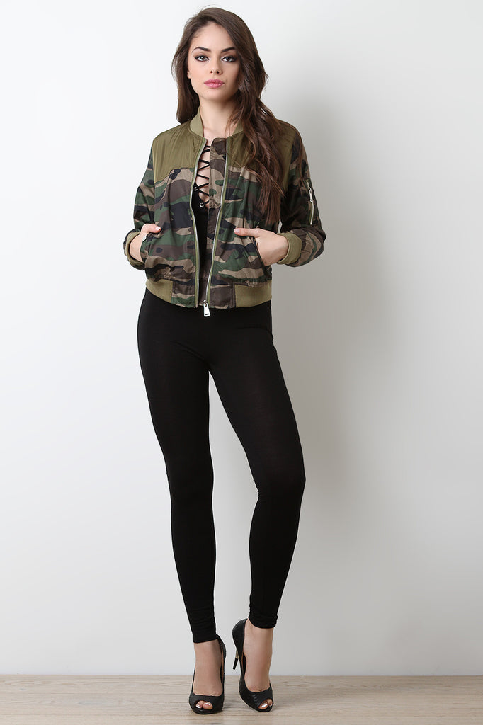 Camouflage Print Zipped Up Colorblock Bomber Jacket - BLK+BLU