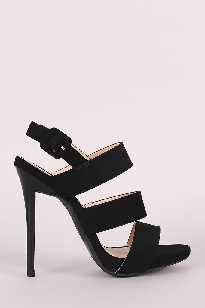 Qupid Nubuck Triple Band Slingback Stiletto Heel - BLK+BLU