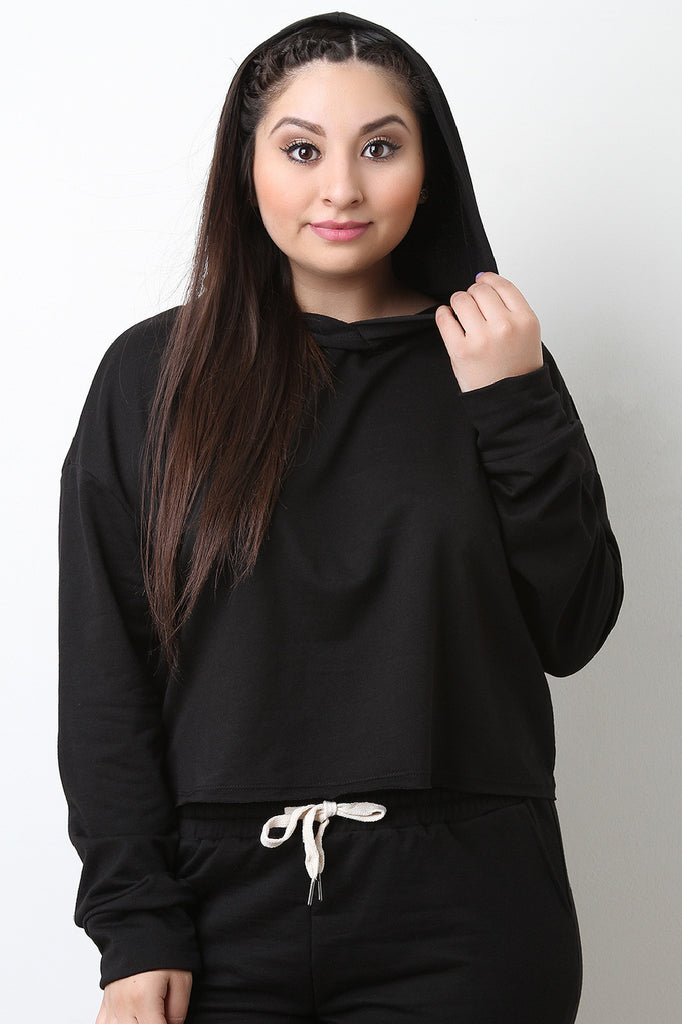 Soft Knit Long Sleeve Hooded Sweater Crop Top - BLK+BLU