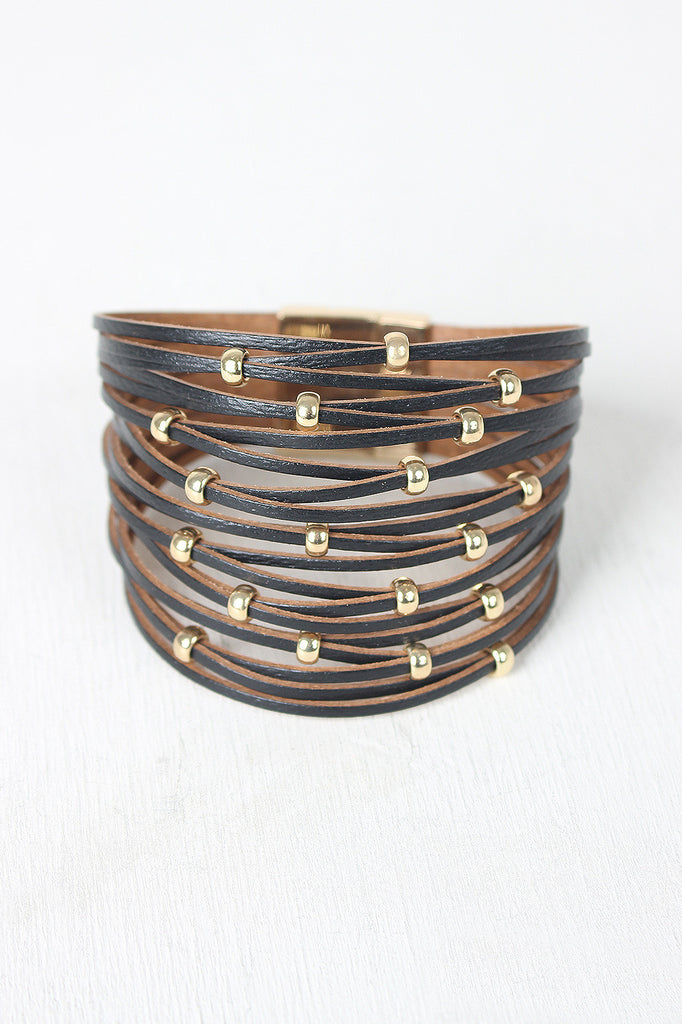 Beaded Vegan Leather Banded Bracelet - BLK+BLU