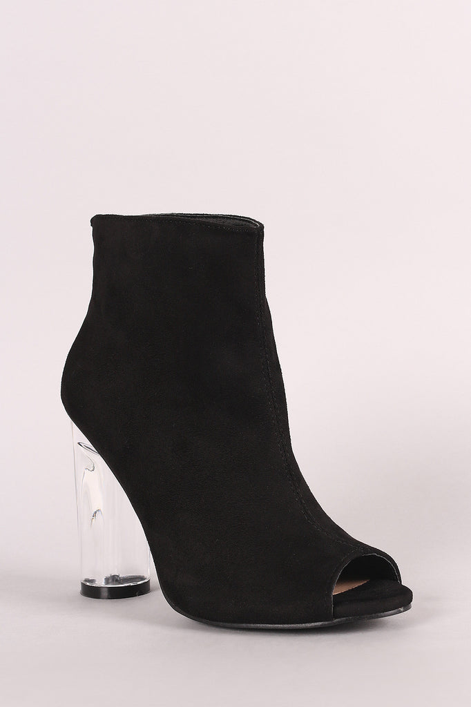 Suede Peep Toe Chunky Perspex Heeled Ankle Boots - BLK+BLU