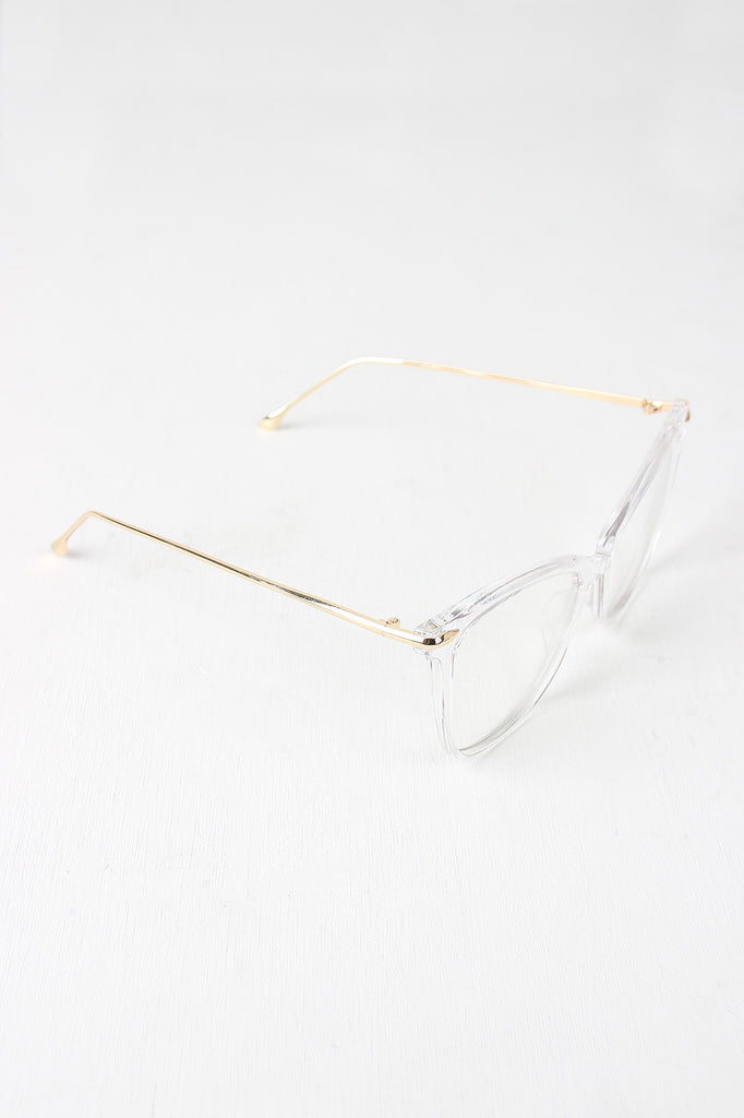 Clear Lense Slight Cat Eye Sunglasses