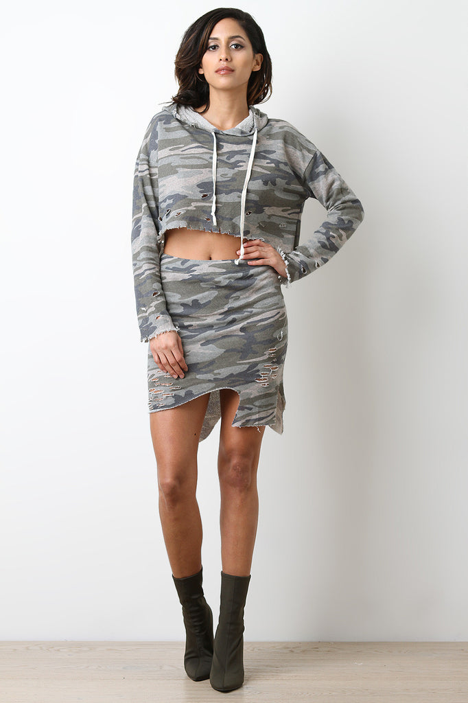 Asymmetrical Distress Terry Cloth Camo Skirt - BLK+BLU