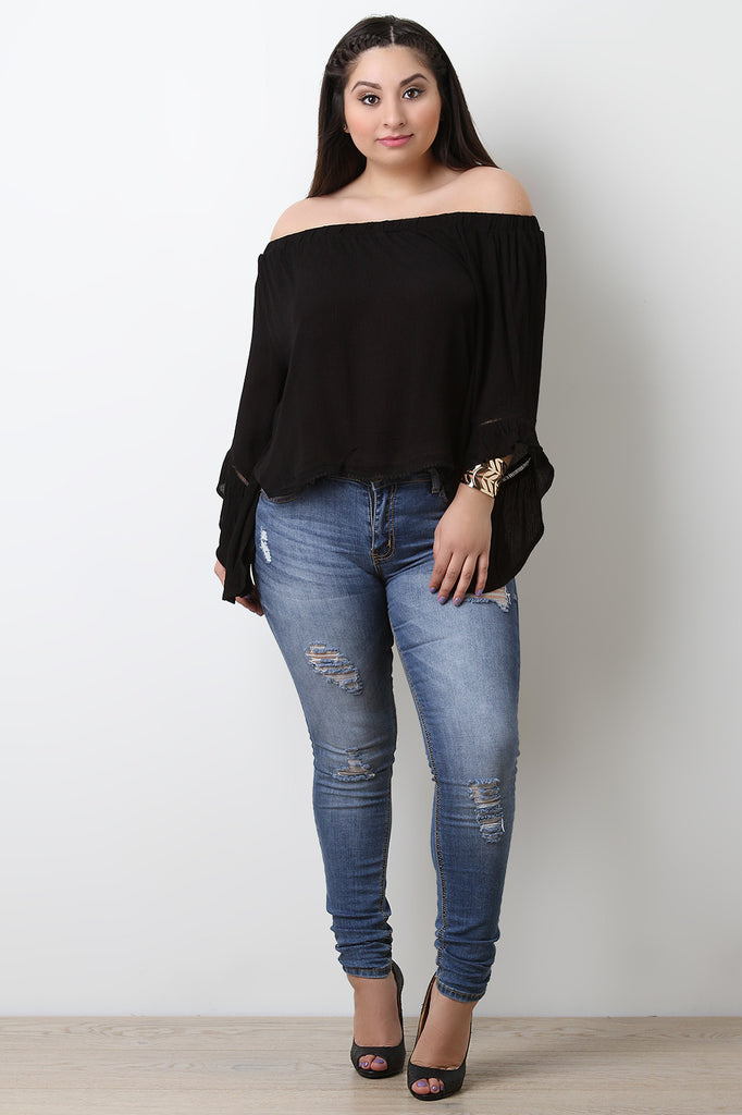 Off The Shoulder Crochet Trim Bell Sleeve Top - BLK+BLU