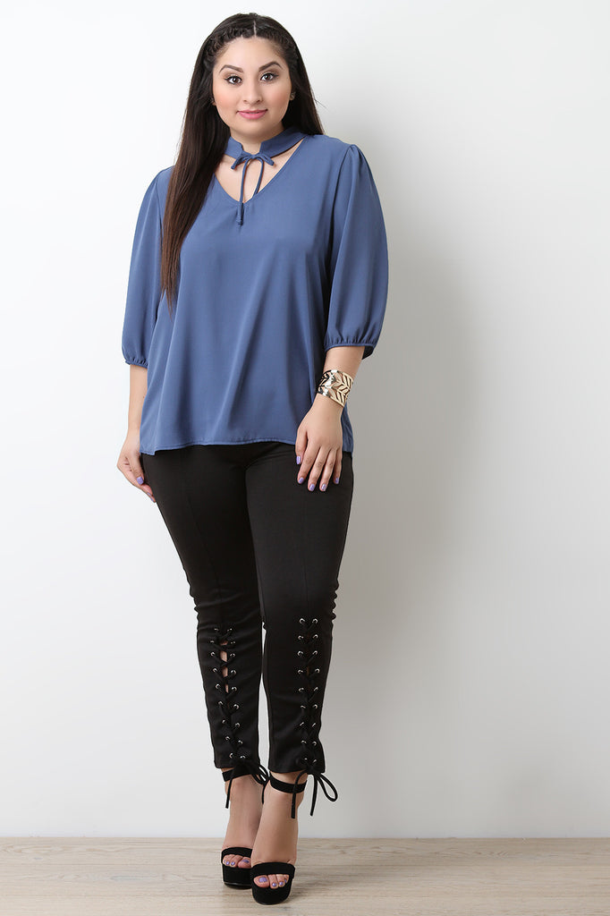 Textured Knit Self Tie Choker Boxy Top - BLK+BLU