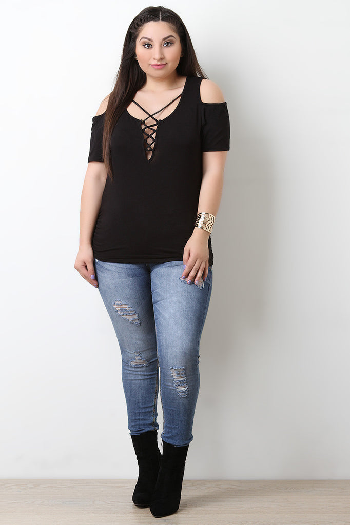 Jersey Knit Corset Lace Up Cold Shoulder Top - BLK+BLU