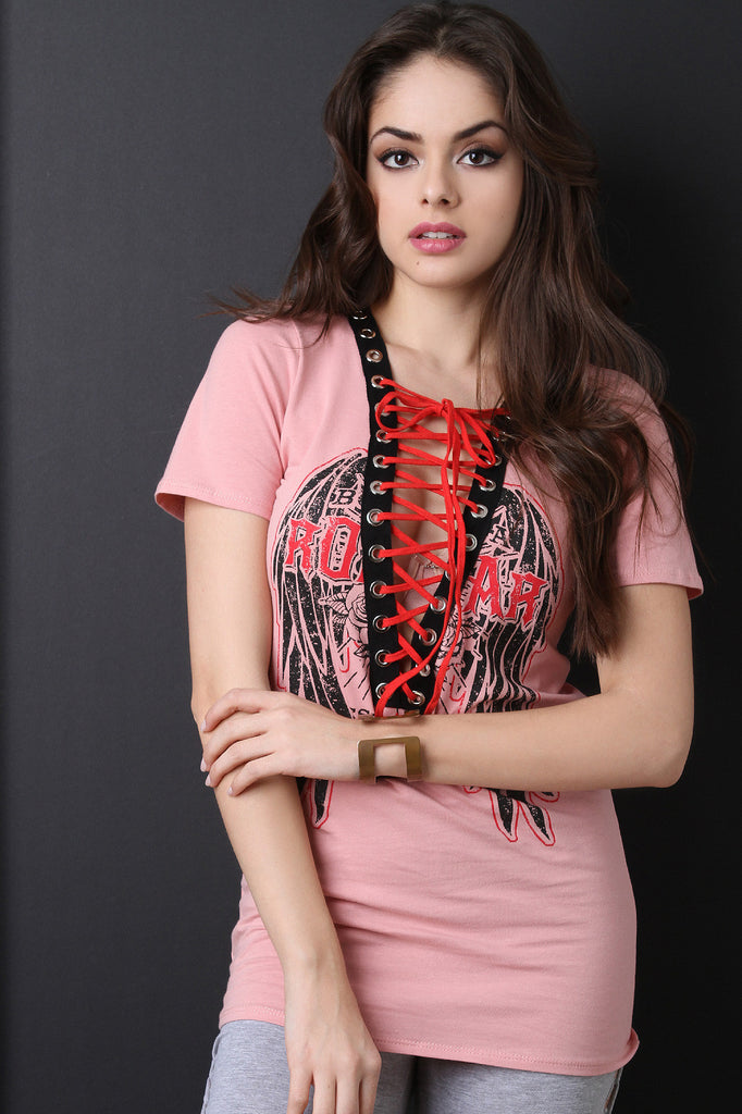 Short Sleeve Graphic Print Design Lace Up Tee